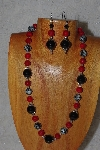 "MBASS #003-0177  ""Red & Black Bead Necklace & Earring Set"""