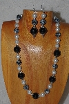 "MBASS #0003-0141  ""Black & White Bead Necklace & Earring Set"""