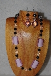 "MBASS #0003-0074  ""Pink, Black & Clear Bead Necklace & Earring Set"""