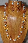 "MBAHB #58-034  ""Orange & White Bead Necklace & Earring Set"""
