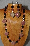 "MBAHB #58-029  ""Pink & Black Bead Necklace & Earring Set"""