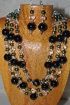 "MBAMG #100-0143  ""Black , Green & Clear Bead Necklace & Earring Set"""