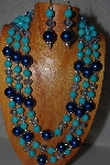 "MBAMG #100-0149  ""Blue Bead Necklace & Earring Set"""