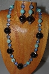 "MBAMG #100-0174  ""Blue & Black Bead Necklace & Earring Set"""
