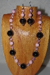 "MBAMG #100-0189  ""Pink & Black Bead Necklace & Earring Set"""