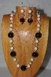 "MBAMG #100-0194  ""Black,White & Clear Bead Necklace & Earring Set"""