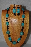 "MBAMG #100-0255  ""Blue & Black Bead Necklace & Earring Set"""