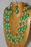 "MBAHB #033-0151  ""Lime Green Shell Pearl & Mixed Bead Necklace & Earring Set"""