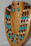 "MBAHB #033-0145  ""Aqua Blue Shell Pearl & Mixed Bead Necklace & Earring Set"""