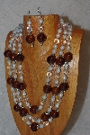 "MBAHB #033-0134  ""Brown Porcelain & Mixed Bead Necklace & Earring Set"""