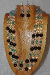 "MBAHB #033-0122  ""Black Porcelain & Mixed Bead Necklace & Earring Set"""