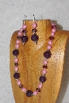 "MBAHB #033-289  ""Purple Porcelain & Mixed Bead Necklace & Earring Set"""