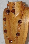 "MBAHB #033-254  ""Brown Porcelain & Mixed Bead Necklace & Earring Set"""