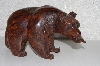 "**MBANG #524-0229  ""Fancy Hard Carved Rose Wood Bear W/Fish"""