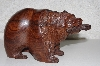 "**MBANG #524-0218  ""Fancy Hand Carved Rose Wood Bear W/Fish"""