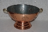"MBA #524-0095 ""Vintage Extra Large Copper With Nickle Lining Strainer"""