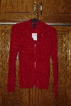 "MBACF #598-0035 ""Boston Proper Red Zip Front Chanille Cardigan"""