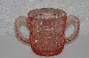 "**MBAAF #0013-0074  ""Vintage Fancy Cut Pink Glass Sugar Bowl"""