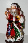 "MBA #S30-039  ""2004 Thomas Pacconi 2 Piece 16"" Victorian Hand Blown Glass Tabletop Santa & Elf"""