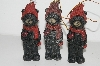 "MBA #S29-126  ""Set Of 6 Black Bears With Red Bird Ornaments"""
