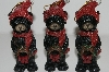 "MBA #S29-124 ""Set Of 6 Black Bears With Wreaths Ornaments"""