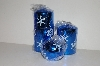 "MBA #S30-352  ""Set Of 3 Blue Shimmering Snowflake Candles"""