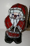 "MBA #S30-016  ""2004 Tiffany Style Red, White & Black **Stained Glass Santa Accent  Table lamp"""