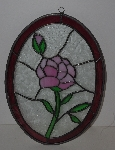 "Lamps II #0018  ""Beautiful Pink Rose Stained Glass Suncatcher"""