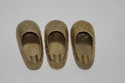 "Lamps II #0063  ""1960's Set Of 3 Brass Shoe Ashtrays"""
