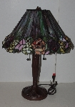"Lamps II #289  ""Tiffany Style 3D Look Rose Stained Glass Table Lamp"""