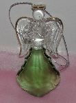 "MBA #1313-87    ""Set Of 2 Faceted Glass Angel Ornaments ""Green"""