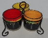"+MBA #1313-114   ""Ceramic Multi Colored Triple Server With Metal Stand"""
