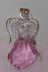 "MBA #1313-61  ""Pink Set Of 2 Faceted Glass Angel Ornaments"""