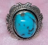 "MBA #1616-0293  "" R. Nelson Signed Blue Turquoise Ring"""
