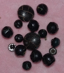 "MBA #1616-0092  ""Vintage Lot Of 16  Black Buttons"""