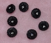 "MBA #1616-102  ""Vintage Lot Of 7 Black Buttons With Rhinestone Center"""