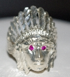 "MBA #1818-0025  ""Sterling Free Form Laser Cut Indian Head Ring"""