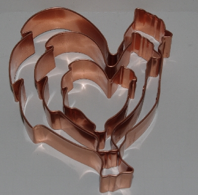 "+MBA #2727-0016    ""Set Of 3 Made In The Usa Solid Copper Chicken Cookie Cutters"""