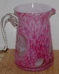 "MBA #2828-520   ""2005 Beautiful Pink & Clear Hand Made Art Glass Pitcher"""