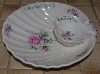 "+MBA #2828-538   ""Pink Clairemont Rose Shell Chip & Dip Ceramic Dish"""