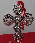 "MBA #3030-449   ""Lenox Set Of 2 Crystal Accent Sliver Plated Cross Ornaments"""