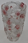 "MBA3434-0014    ""Large Beautiful Mikasa Pink Rose Clear Glass Vase"""