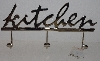 "MBA #3535-282   ""Chrome Kitchen Sign With 3 Hanging Hooks"""