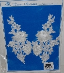 "MBA #3535-106  ""1990's Set Of (2) Large White Lace Floral Appliques"""