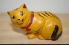 1986 Hand Carved 7 Painted Franklin Mint Wooden Cat