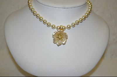 Nolan Miller Creme Colored Flower Enhancer & Simulated Pearl Necklace