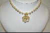 **Nolan Miller Creme Colored Flower Enhancer & Simulated Pearl Necklace