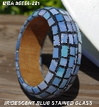 "MBA #5556-221  ""Iredescent Blue Stained Glass Bangle Bracelet"""