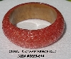 "MBA #5556-614  ""Coral & Clear Fancy Cut Glass Seed Bead Bangle Bracelet"""