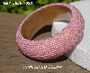 "MBA #5556-630  ""Pink Lined Clear Glass Seed Bead Bangle Bracelet"""